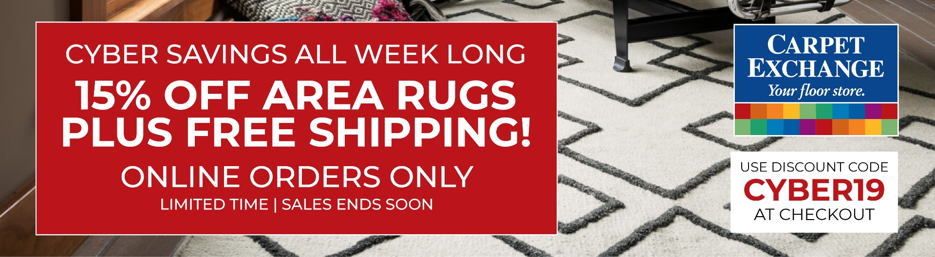Cyber Week Savings - 15% Off Area Rugs, Plus Free Shipping!